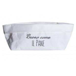 """CONTENITORE IN CELLULOSA """"BUONO COME IL PANE"""" 24x12 BIANCO"""